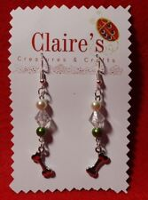 Handmade 🐶 Dog Bones 🐶 Earrings with Pearl , Bicone & Green Beads