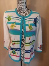 Berek Sweater Cable Knit Cardigan Fish Sea Turtles White Blue Women Medium