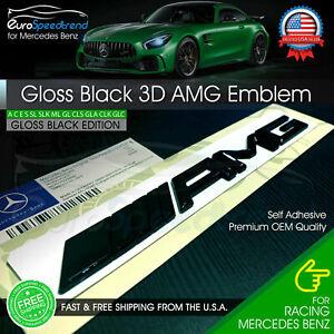 AMG Emblem Trunk OEM Gloss Black 3D Rear Badge Mercedes Benz C E S SL SLK Logo