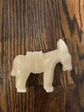 Carved White Jade Donkey Vintage Statue Rare