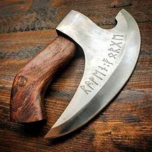 Hand Forged Original Viking Style Pizza Cutter Axe, Pizza Axe w/ Rose Wood