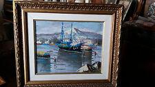 pittura napoletana del  900 olio su compensato m 29x23 pescatori
