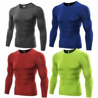 Mens Long Sleeve Tights Sports T-shirts Compression Thermal Base Layer Top S-3XL