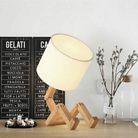 Robot Bedside Lamp Fabric Lampshade Foldable Solid Wood Creative E27 Table Lamp