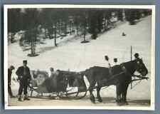 Suisse, Saint Moritz, Un beau traîneau  Vintage silver print. Vintage Switzerlan