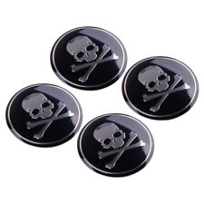 4x Car SUV 56mm Metal Cross Bone Skull Logo Emblem Sticker Wheel Center Hub Caps