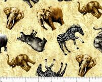 Jungle Party Tonal   Cotton Fabric Fabri-Quilt Elephants  By the Yard  BFab