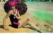 Riproduzione Cartolina Donne e Moda del 1920 Francia Bella bagnante