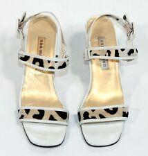 ANN MARINO LEATHER BLK/WHITE w/ANIMAL PRINT SHEER MESH sandals Size 6