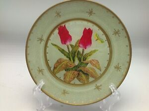"Moonlighting Interiors Decoupage Glass Plate Botanical Tulips Butterflies 7"" C"
