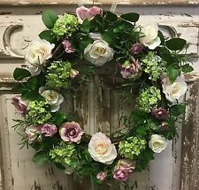 Beautiful Vintage Chic Rose Wreath Artificial Gisela Graham Country Shabby Door
