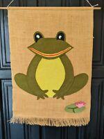 Vintage Wall Hanging Green Frog Felt Tapestry Burlap Mod Retro Ribbet Lilypad
