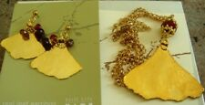 NEW STILL LIFE REAL GINGKO LEAFS DROP PENDANT NECKLACE AND EARRINGS