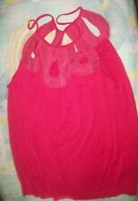 TWENTYONE Bright Pink Bubble Waist Sleeveless  Strap Top S