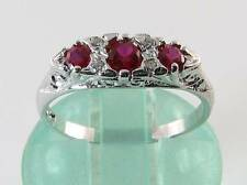 CLASS 9K 9CT WHITE GOLD INDIAN RUBY DIAMOND ART DECO INS RING FREE RESIZE