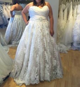 New Sweetheart A-Line Lace Chapel Train Wedding Bridal Dress Custom Plus Size