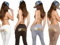 Tuta Pantalone Pant Donna Sport Fitness cavallo basso danza jogging stampa oro
