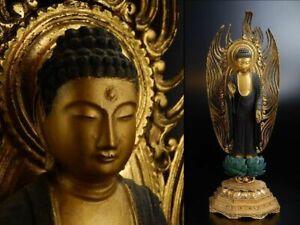 old Edo Period Japanese Japan, Jodo shu wooden Buddha statue of Amitaba 46cm 式