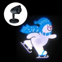 Outdoor LED Ice Skating Snowman Christmas Projector Light Set Xmas Decoration