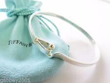 Tiffany & Co. Silver & 18kt. Gold Hook & Eye Bangle Bracelet w/ Box & Pouch