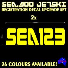 SEA DOO, JETSKI, P.W.C custom registration rego numbers letters decals stickers