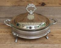 Mid Century RAIMOND Ornate Silverplate Stand & Lid FIRE KING 2Qt Serving Dish