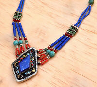 Blue Lapis Afghan Kuchi Necklace Beads Bohemian Ethnic Jewelry Hippie Gypsy Boho