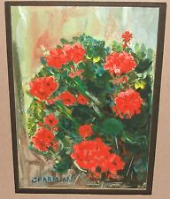 CHARMIAN RED ROSES ORIGINAL OIL ON PAPER BOARD PAINTING