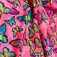 Butterfly neon hot pink print Nylon Lycra Spandex Fabric 4 Way Strech By Yard