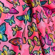 Butterfly neon hot pink print Nylon Lycra Spandex Fabric 4 Way Strech By Yard