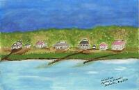 AMERICANA FOLK ART SUNSET DUSK CAPE COD MASSACHUSETTS MARTHA'S VINEYARD PAINTING