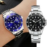 Men's Fashion Date Military Stainless Steel Date Sport Quartz Analog Wrist Watch