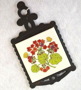 Vintage Cast Iron and Tile Kitchen Trivet Wall Decor Butterflies and Flowers