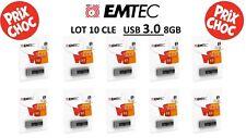 LOT DE 10 CLE USB 8 GO  EMTEC B250 Slide USB 3.0 32 GB