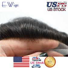 Full French Lace Mens Toupee Medium Brown Human Hair System Made from Swiss Lace