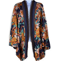 Umgee Floral Print Long Sleeve Open Front Kimono with Aztec Print Hem Womens 2X