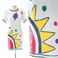 Vintage 80s SILK Sequin Beaded SUN Dress Deco Cocktail Party POP ART flower mini