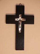 Croix de Communiant en Bois, Nacre et argent