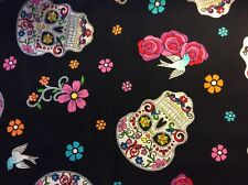 """Rare gorgeous sparkling sugar skull dove rose cotton fabric, 45""""w, sold BTY"""