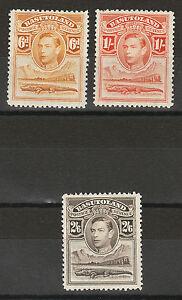 BASUTOLAND 1938 KGVI CROCODILE 6D 1/- AND 2/6