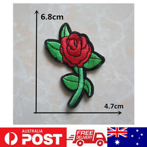 1pc Rose Flower Patch Embroidered Cloth Applique Badge Iron Sew On DIY
