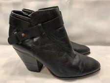 DOLCE VITA Black Ankle Boots Heel Zipper Strap Women's Size 9