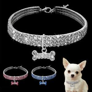Crystal Dog Necklace Collar Rhinestone Bling Puppy Diamond Pet Pendant Chain Cat