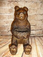 Sitting Brown Bear Holding Nest Basket Carved Resin Cabin Rustic North Decor 11""