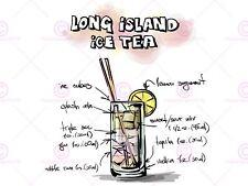 PAINTING ALCOHOL COCKTAIL RECIPE LONG ISLAND ICE TEA ART PRINT MP5126A