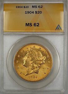 1904 $20 Liberty Double Eagle Gold Coin ANACS MS-62 SB (Better) (C)