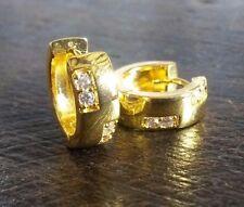 S17 Sim diamonds 18k gold pltd huggie hoop earrings 14mm x 5mm RRP £19.99 boxed
