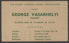 George Vasarhelyi Pianist 1964 India performance advertisement