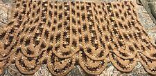 "Vintage Handmade Afghan Throw Blanket 35 X 60"" Scalloped Neutral Colors"