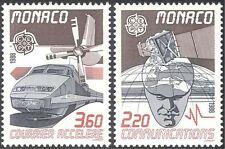 Monaco 1988 Europa/Mail Train/Rail/Plane/Satellite/Radio/Transport 2v set n27227